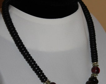 """Vintage dark brown flat disk beads with purple accent beads and brass separators necklace, 21"""" long"""