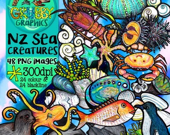 New Zealand Creature of the Sea Clip Art, Instant Digital Download