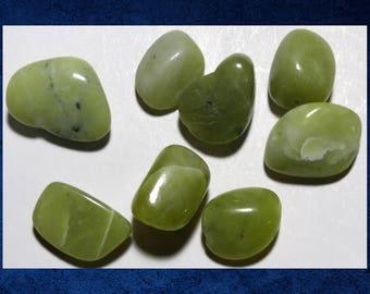Stone, Green - Set of 8 large pebble stone beads. #OTHR-016