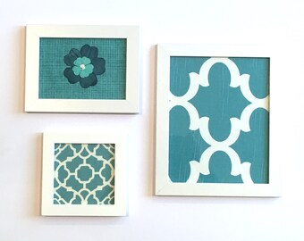 Fabric Art Set Turquoise Blue Aqua
