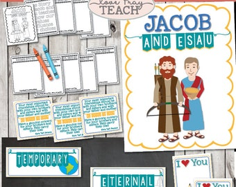 """LDS Primary 6 Lesson 13: """"Jacob and Esau"""" Lesson helps include Title Poster, Attention Activity, Family Love Note Activity, and much more!"""