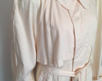 1980's cream colored cotton trench coat by Gene Ewing BIS//medium