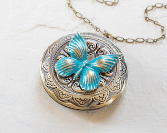 for etsy blue brass butterfly memorial lockets market her il valentines locket gift