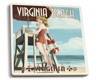 VA Beach, VA - Pinup Girl Lifeguard - LP Artwork (Set of 4 Ceramic Coasters)