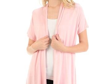 Short Sleeve Open Front Vest Pink