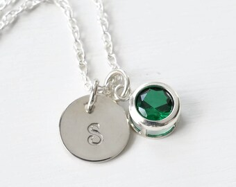 May Birthstone Initial Necklace Sterling Silver / Personalized Birthstone Jewelry / Personalized Valentines Day Gifts