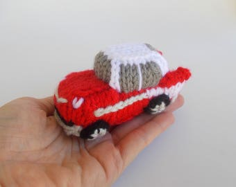 Mini Classic Car Knitted Stuffed Ornament - Vehicle Ornament - Retro Car Model - Stocking Stuffer - Car Decor - 57 Bel Air Gift Idea