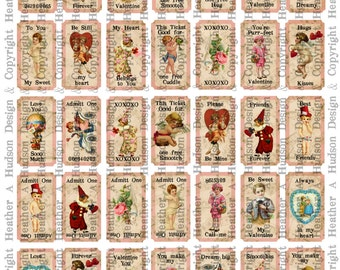 Victorian Vintage Valentine's Day Shabby Pink Cream Tickets Digital Collage sheet Printable