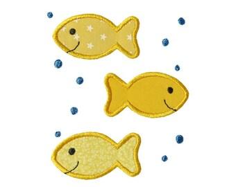 Three Fish Applique Machine Embroidery Digital Design Goldfish Bubbles Summer Ocean Beach