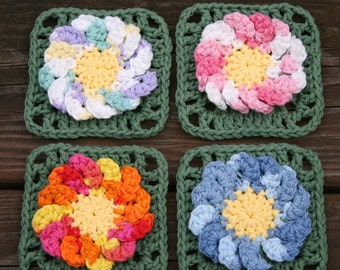4 Crochet Flower coaster mini doily