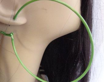 Green Earrings 2.75 inch Green hoop earrings Classic Hoop Earrings Green Earrings Thin Hoop Earrings