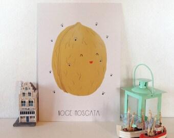 "Illustration ""Nutmeg""-A4 print, postcard, tote-Bag"