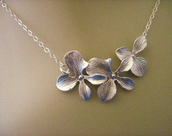 Orchid Jewelry Silver Orchid Necklace with Sterling Silver Chain