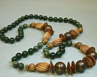 Vintage Nephrite AAA Grade Jade Bead Necklace Hand Knotted, Vintage Green Zebra Jasper, Vintage Copper Beads, Vintage Brass Beads