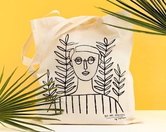 GIRL II - Tote bag by Depeapa, Girl Tote bag, organic canvas tote, depeapa, screen printed tote bag, illustration