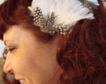 White and Black Feather Hairclip