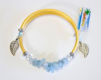 Aquamarine and gold cord bracelet