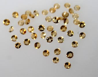 1.5 mm Natural Citrine Round Faceted  Loose Gemstone AAA Quality
