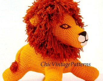 Knitting pattern lion hat lion baby beanie hat animal hat character crochet toy lion pattern lion soft toy vintage pdf crochet pattern super soft toy fete fair market item instant download dt1010fo