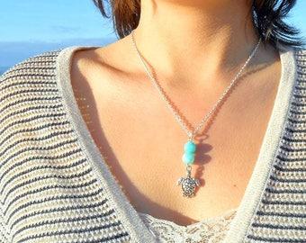 Turtle necklace semi precious stone blue quartz, birthday gift, mothers day
