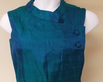 Vintage silk dress sheer green silk over sheer blue, notched sleeveless, buttons way over to left