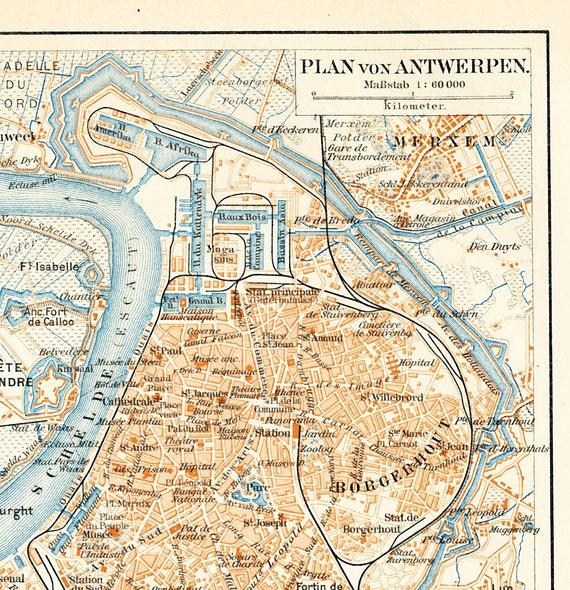 Items similar to Antwerp city map Antwerp old city plan historic