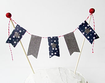 4th of July Cake Bunting Topper, Independence Day Cake Topper, Americana, 4th of July, Party Decor, Patriotic Cake Topper