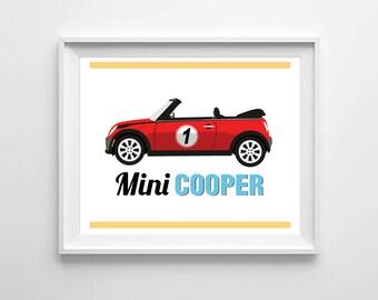 Mini Cooper print, Mini Cooper wall print, room art, playroom decor, nursery art, wall decor, children wall art, 8x10 print