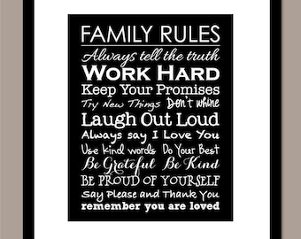 """Family Rules Sign Family Rules Printable Family Rules Print Housewarming Gift Printable Instant Download Digital 8""""x10"""" Print"""