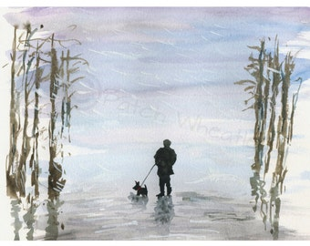 Scottish Terrier Dog, Art Print 'Winter Walk' 8X6 inch #18