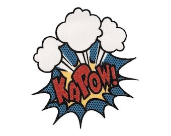 Kapow fer sur Applique, Explosion fer sur Patch, Patch de paillettes, véritable DC Comics Patch, Patch de super héros, patch écusson brodé, enfants Patch