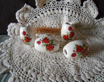 4 Lg Glazed Ceramic Macrame Beads-Oval Shaped-Handcrafted-Red Rose Decal-LD24