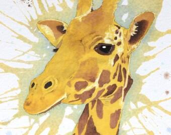 "Giraffe 8"" x 10"" Original Watercolor Illustration"