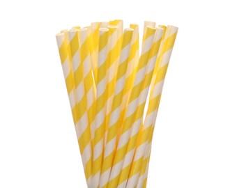 Paper Straws, Yellow Striped Paper Straws, Sunshine 1st Birthday Paper Goods, Summer Picnic, Easter Brunch Lemonade Straw, Pool Party Straws