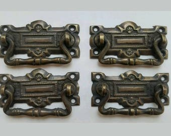 4 Horizontal Victorian Antique Style Ornate Handles Cabinet Hardware,  Furniture Pulls 2 5/16