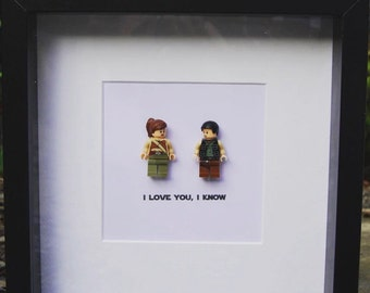 I love you I know Star Wars Princess Leia & Han Solo  Replica Wedding Anniversary Gift Personalised Wall Art Box Frame Picture Gift