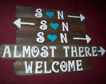 Wedding signs w/stakes  / reception sign / wedding decorations/ wedding signage / rustic signs / wooden signs / wedding welcome sign