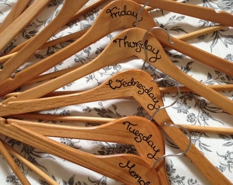 Wooden clothes outfit hangers day of the week hangers - set of 8 decorated clothes hangers, hand drawn, outfit planning hangers days of week