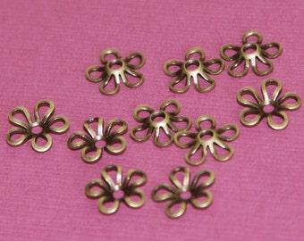 100 pcs of Antiqued brass flower beads cap 9mm