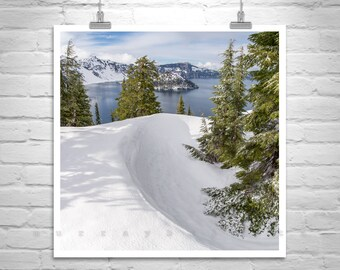 Crater Lake Oregon, Winter Forest Photography, Oregon Mountain Picture, Oregon Landscape Art, Crater Lake Winter, Mountain Forest