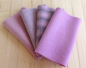 """Hand Dyed Felted Wool, Light ORCHID, Four 6.5"""" x 16"""" pieces in Soft Lavender Purple, Perfect for Rug Hooking, Applique' and Crafting"""