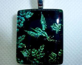 Fused glass pendant  - Hummingbird - Teal Green Turquiose - Fused Glass Jewellery - Made in UK - One of a kind - Unique Gift