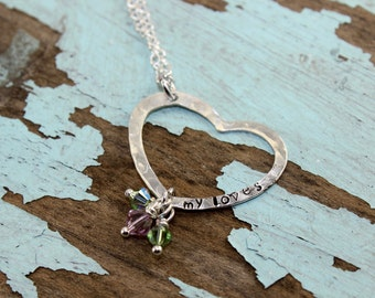 Will NOT ship until 7/9/18Sterling Silver Open Heart Hammer Textured ....hand stamped MY LOVES necklace with Swarovski Birthstones