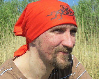 Red bandana with Flying Spaghetti Monster, FSM, Pastafarianism, head bandana, headdress
