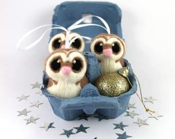 Barn Owl Christmas Decoration Needle Felted Christmas Tree Decoration 1 supplied