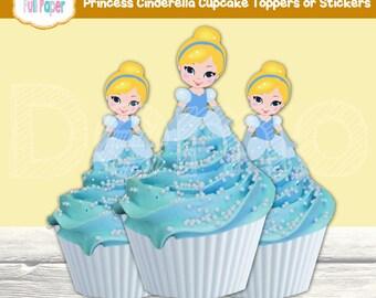 Printable Cinderella Cupcake Toppers or Stickers-Cinderella Party Supplies-Cinderella party decor-Birthday Party-Cinderella Stickers-Toppers