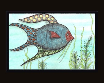 Fish Two in Zentangle Print