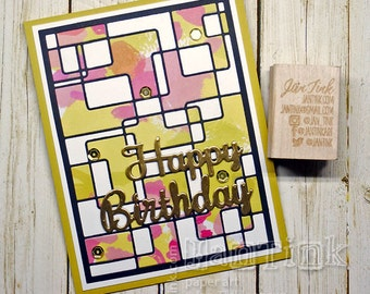 Modern Design Happy Birthday Fancy Greeting Card Handmade Gold Black Pink Yellow Green Wife Girlfriend Sister Mom Mother Daughter Coworker
