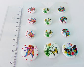 12 fancy Butterfly wooden buttons 2 different sizes in 3 different designs