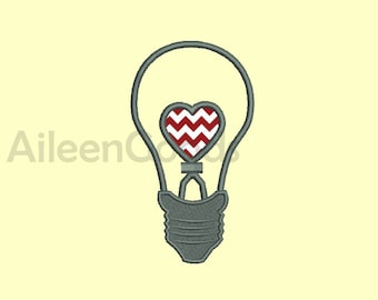 Light bulbs Heart Embroidery design 7 Size  INSTANT download machine embroidery